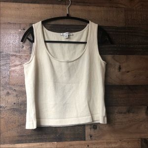 St John Cream Fitted Knit Crop Tank Top